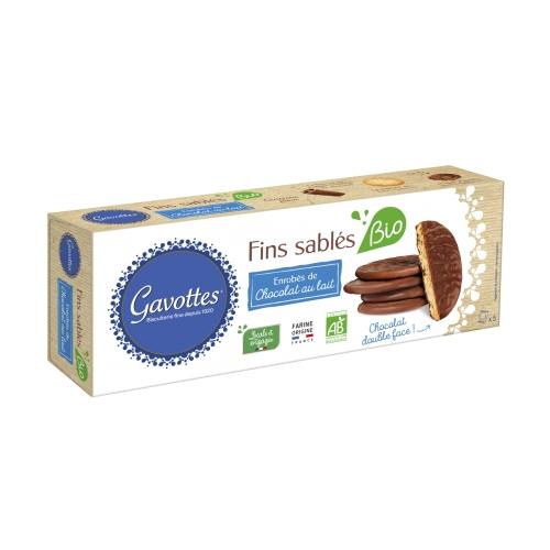 Fins sablés Bio Enrobés de Chocolat Lait 130gr