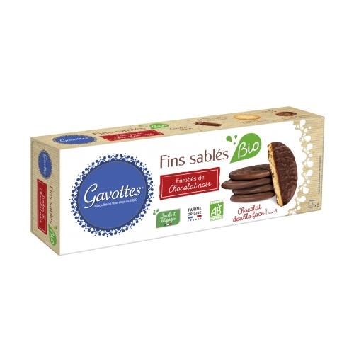 Fins Sablés Bio Enrobés de Chocolat Noir 130gr